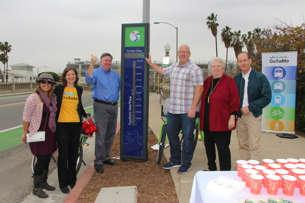 Santa Monica officials show off the city's new bike counter on Main Street on Dec. 21, 2016.