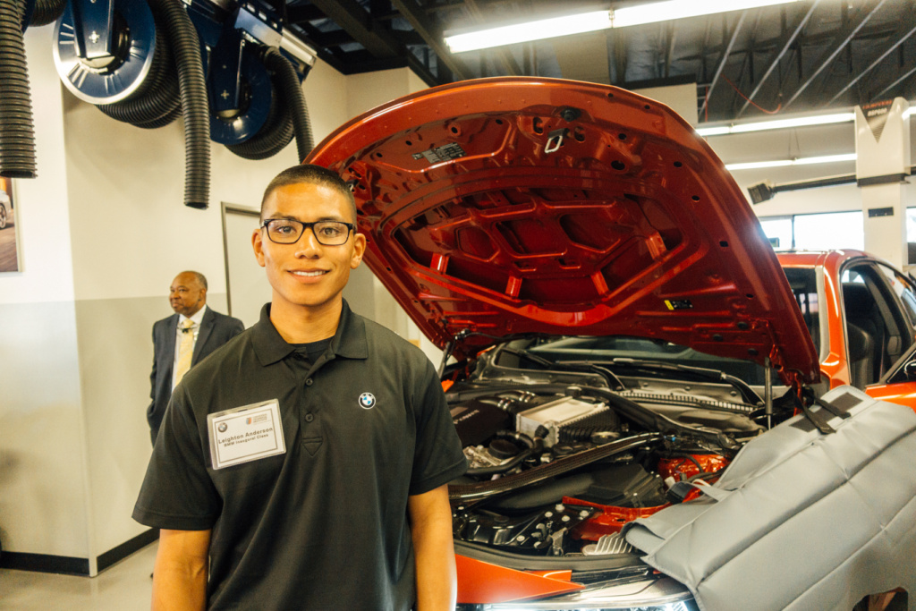 Leighton Anderson is a student in the first BMW MSTEP class at Camp Pendleton, studying to become a Level 3 Service Technician for the luxury car maker.
