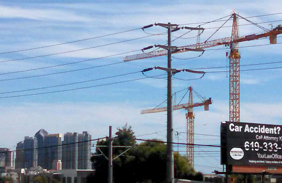 Cranes at a construction site near downtown San Diego.