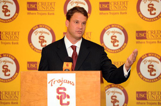 New head coach of the USC Trojans Lane Kiffin is introduced during a press conference at Heritage Hall January 13, 2010 in Los Angeles, California.