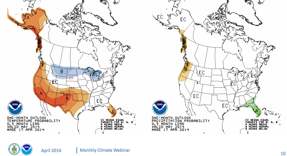 On the left is a map showing the average temperature probability for the month of May. The image on the right shows the total precipitation probability.