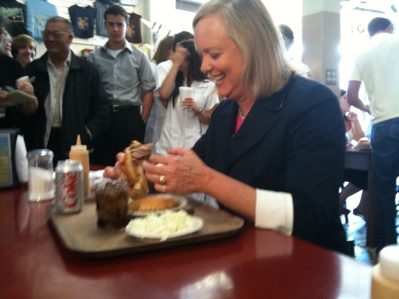 Republican governor candidate Meg Whitman, the billionaire former head of eBay, eats at Philippe's Restaurant in downtown Los Angeles.
