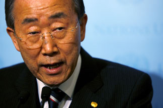 United Nations Secretary-General Ban Ki-moon addresses the media on the situation in Haiti following an earthquake at United Nations Headquarters on January 13, 2010 in New York City.