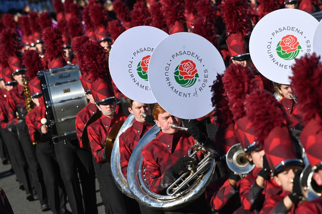 A marching band participates in the 131st Rose Parade in Pasadena, California, January 1, 2020.