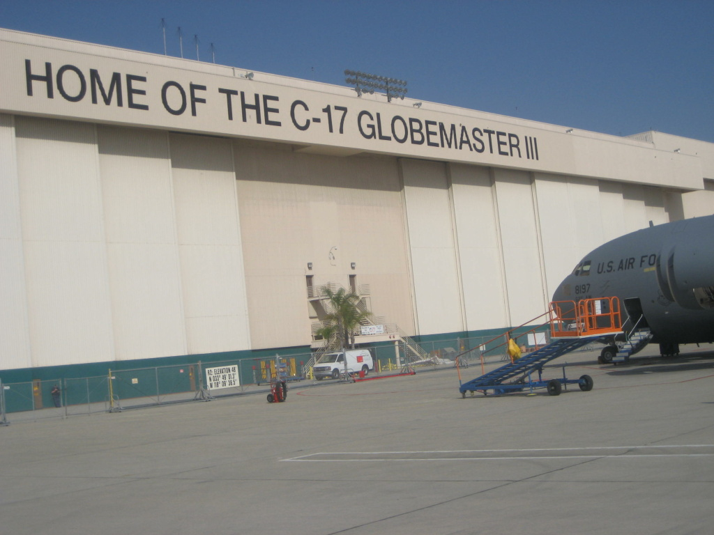 Outside Boeing's C-17 plant in Long Beach
