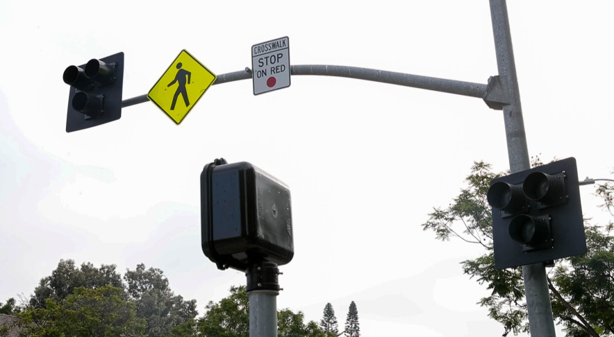 A new HAWK (High-intensity Activated crossWalK) beacon was unveiled on 6th Street north of Hancock Park in L.A.'s Miracle Mile neighborhood. (Courtesy of LADOT)