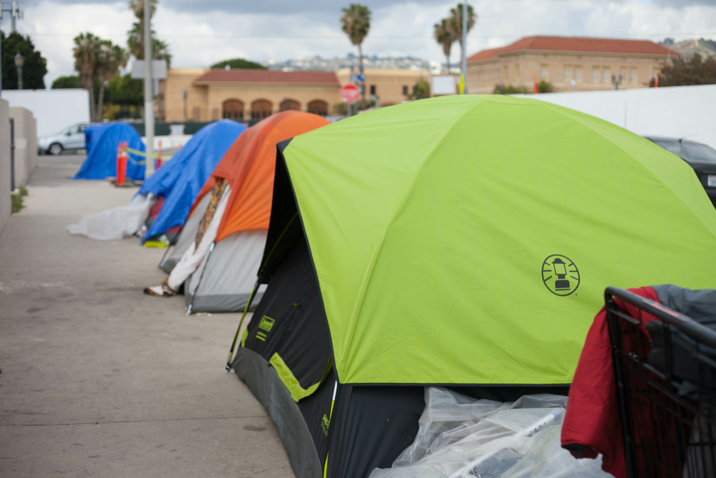 Homeless residents said that they often spend a lot of their money on tents and energy in keeping their belongings safe from law enforcement or theft in Hollywood, Calif. on Friday, Mar. 16, 2018.
