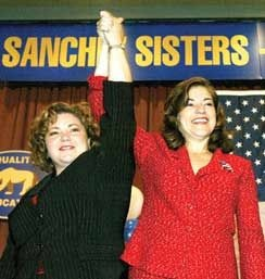 "A Democratic party official says Congresswomen Linda, left, and Loretta Sanchez are ""our best messengers to Latino voters in these districts where the Latino vote is critical to our success."""