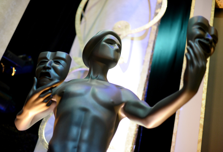 A large The Actor statue is placed on stage during 21st Annual SAG Awards Behind The Scenes At The Shrine Auditorium Jan. 23, 2015 in Los Angeles.