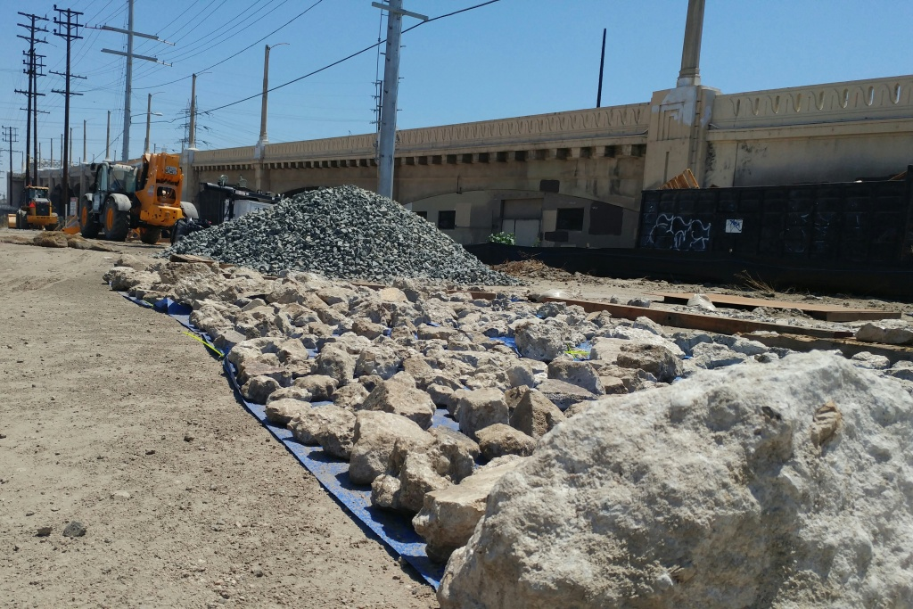 Next to the sixth street viaduct, hundreds of rocks await the attendees of Rock Day LA, an event sponsored by Councilmember José Huizar and the city's Bureau of Engineering. Starting 10 A.M. on Saturday, the first 1,000 people can take home their own piece.