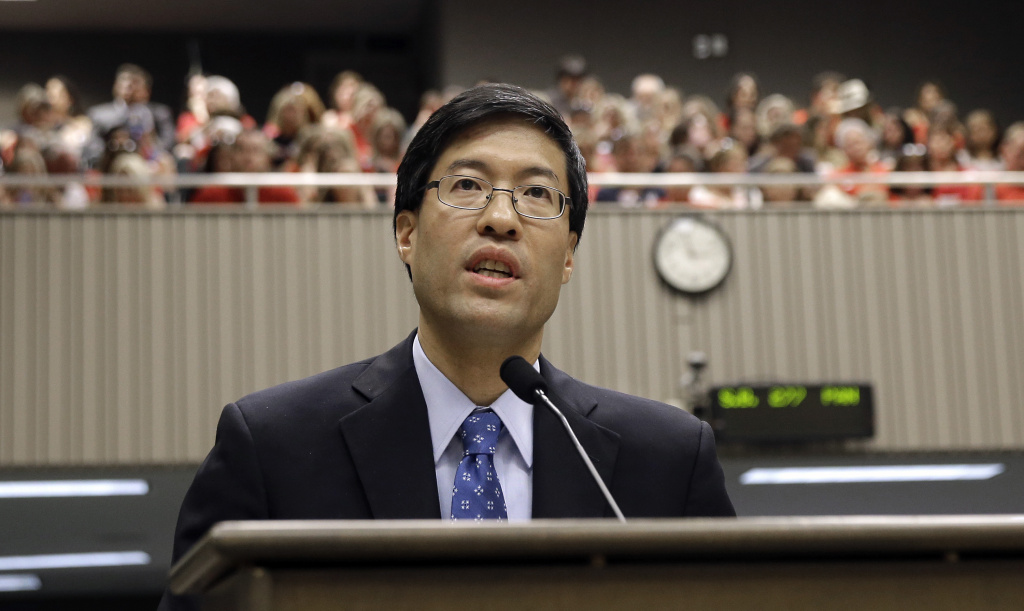Sen. Richard Pan, D-Sacramento, discusses the measure he and Sen. Ben Allen, co-authored requiring California schoolchildren to get vaccinated, while appearing before the Assembly Health Committee at the Capitol in Sacramento, Calif., Tuesday, June 9, 2015.