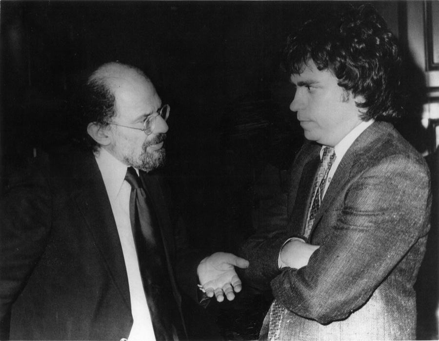 "Author of ""1967: A complete rock music history of the Summer of Love"" Harvey Kubernik (Right) with poet Allen Ginsberg."