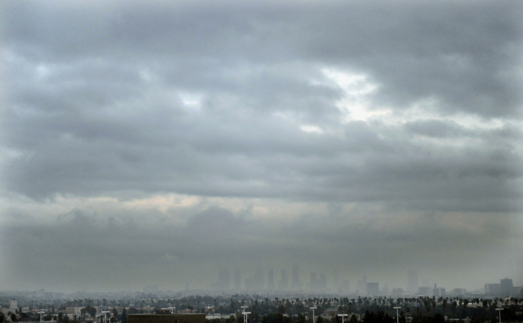 File: Gloomy cloud blankets the Los Angeles skyline on Dec. 22, 2008.