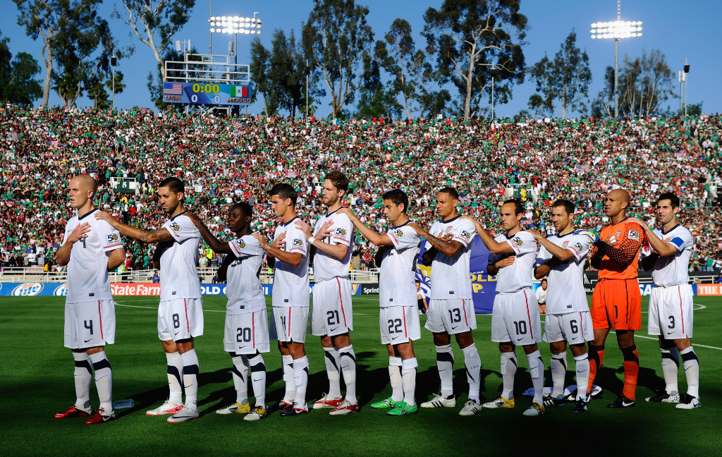 United States mens soccer team stands during the National Anthem before the start of the 2011 CONCACAF Gold Cup Championship soccer match against Mexico at the Rose Bowl. The U.S. and Mexico will play each other again tonight.