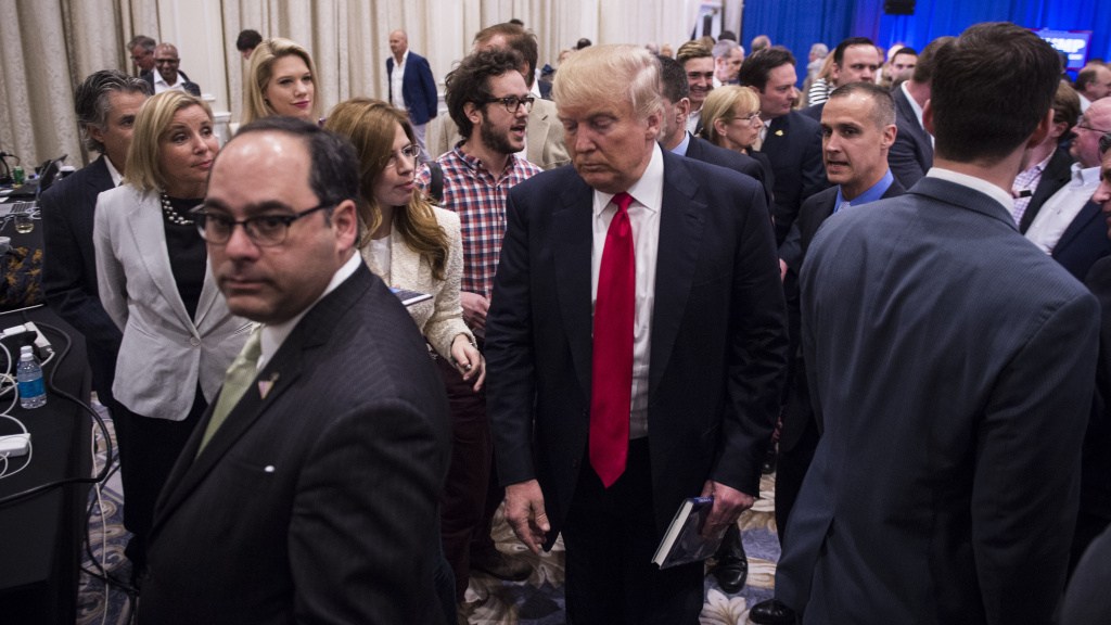 Reporter Michelle Fields resigned from Breitbart last night; she's seen here to the left of Donald Trump, at the campaign event that sparked an assault allegation last Tuesday.