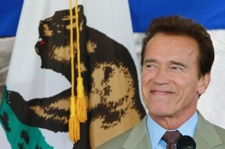 California Governor Arnold Schwarzenegger smiles as he speaks to members of the Bay Area Council in Santa Clara, California.