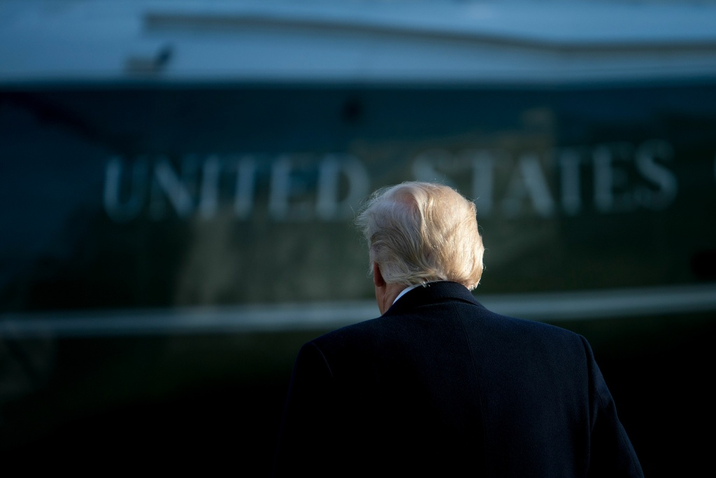 US President Donald Trump walks to Marine One on the South Lawn of the White House December 21, 2017 in Washington, DC.