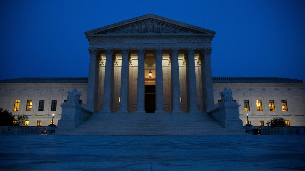 The Supreme Court, pictured on election night. Republican President-elect Donald Trump now stands to reshape the court in his image, potentially for a generation.