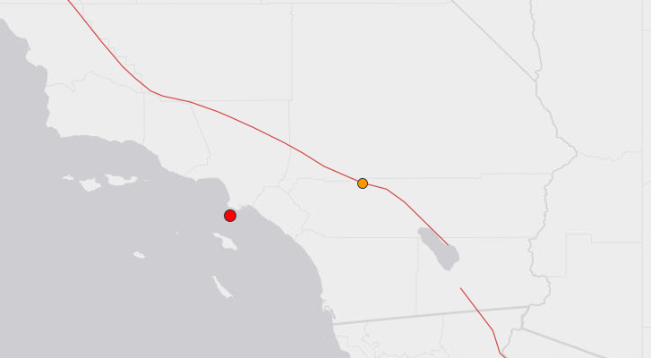 The epicenter of a 4.0 earthquake south of Rancho Palos Verdes on Wednesday, May 15, 2013.