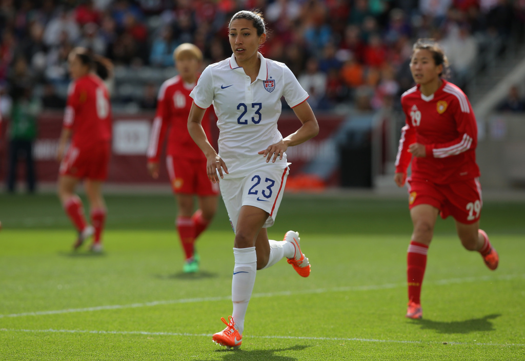 COMMERCE CITY, CO - APRIL 06:  Christen Press #23 of the United States takes the field against China at Dick's Sporting Goods Park on April 6, 2014 in Commerce City, Colorado. The United States defeated China 2-0.  (Photo by Doug Pensinger/Getty Images)