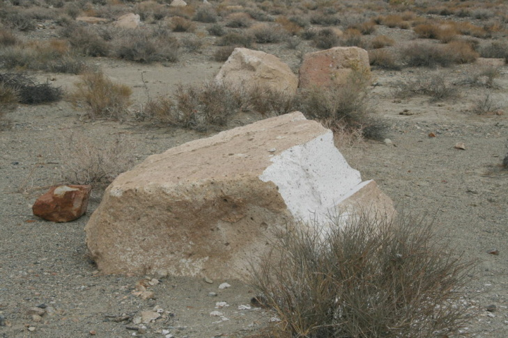 Image of damaged petroglyphs in Bishop, Calif.