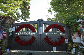 General view of the front gate at Neverland Ranch on July 8, 2009 in Los Olivos.