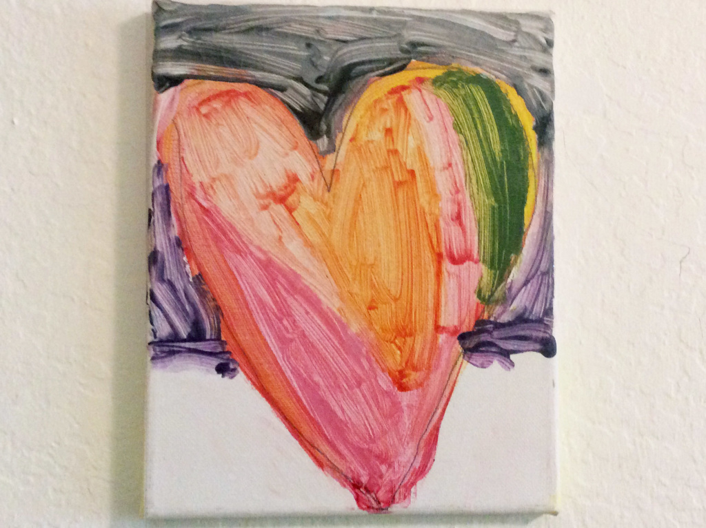 Sara's nephew and Wendy's son Benny painted this image of a heart that hangs in the author's home.