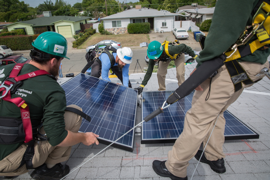 Installation of solar panels in a South Sacramento home on Monday, May 18, 2015.