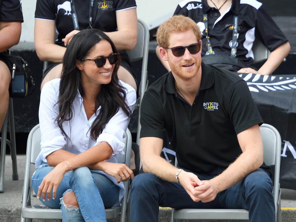 Actor Meghan Markle and Prince Harry attend the Wheelchair Tennis on Day 3 of the Invictus Games Toronto 2017 at Nathan Philips Square, in September.