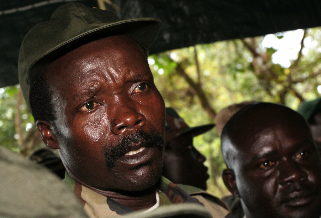 A file photo taken on November 12, 2006, shows the leader of the Lord's Resistance Army (LRA), Joseph Kony, answering journalists' questions in Ri-Kwamba, southern Sudan, following a meeting with UN humanitarian chief Jan Egeland.