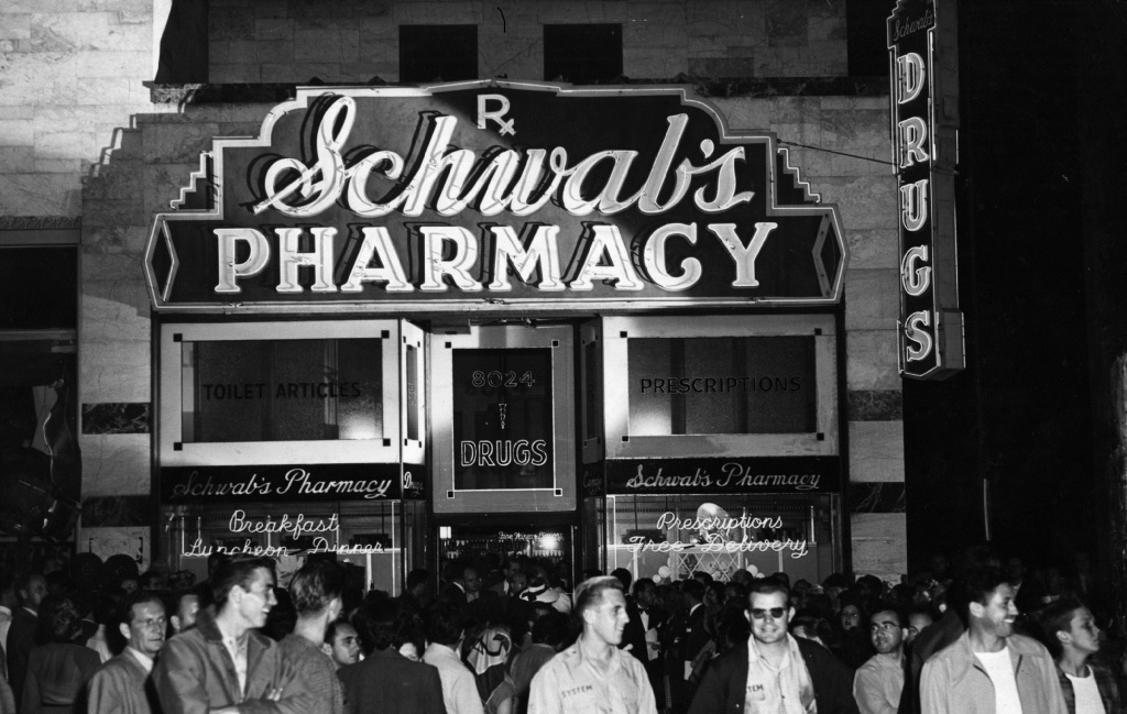 The scene outside Schwabs drugstore, Hollywood - one of the iconic places mentioned in Geary's new book.