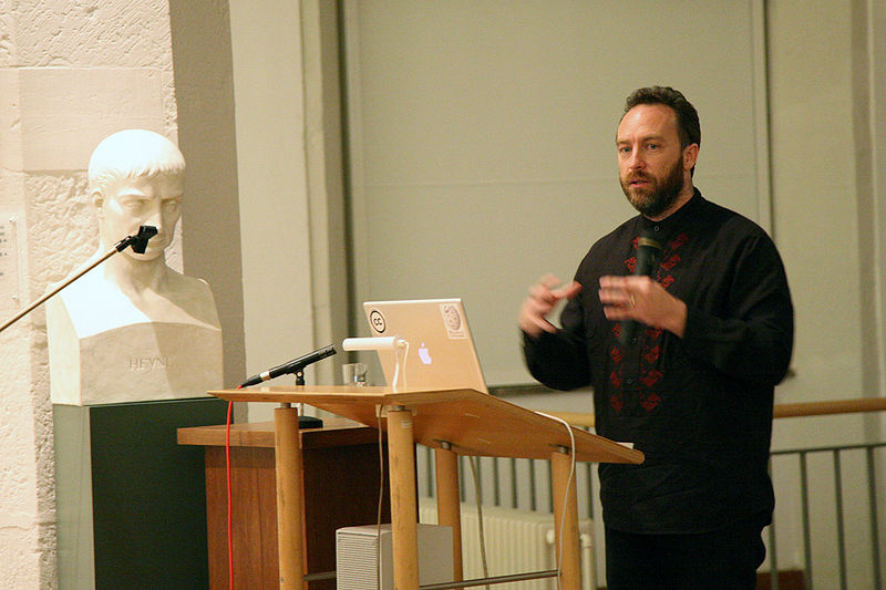 Wikipedia founder Jimmy Wales gives a presentation.
