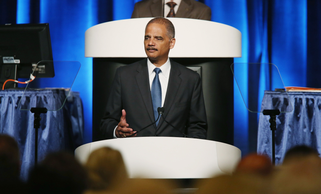 U.S. Attorney General Eric Holder speaks during the 2013 America Bar Association (ABA) annual meeting on August 12, 2013 in San Francisco, California. Holder is seeking changes in the minimum penalties of certain low-level drug related crimes.