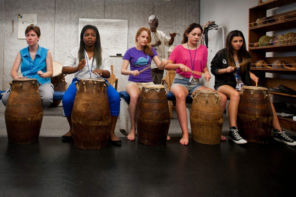 File photo: Alfred Ladzekpo, right, teaches an African music and dance class during the California State Summer School for the Arts program at CalArts.