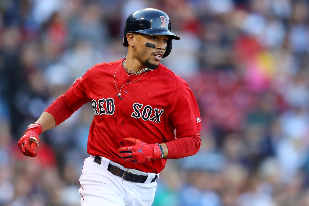 Mookie Betts #50 of the Boston Red Sox
