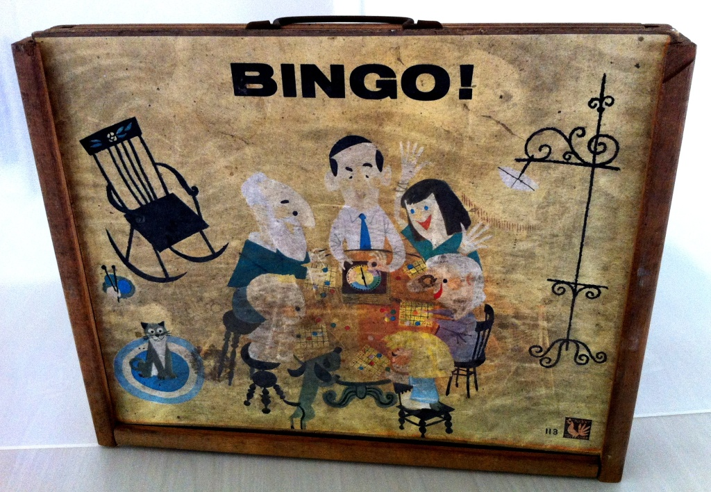 The front of a mildewed Bingo game, rescued from the fallout shelter by Deb Kaufman, whose father built the refuge.