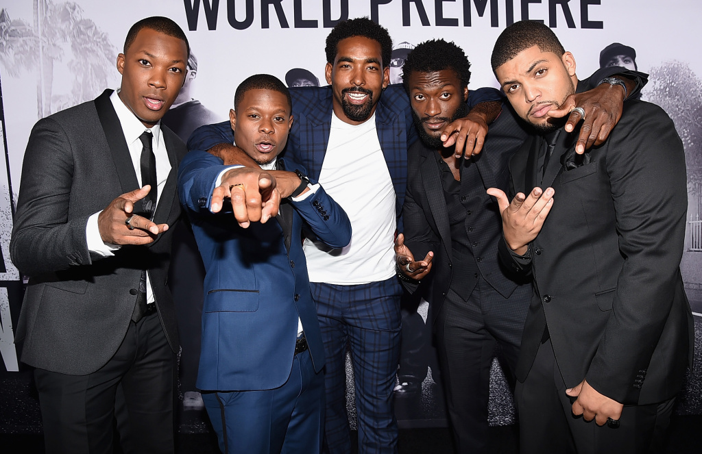 (L-R) Actors Corey Hawkins, Jason Mitchell, Marlon Yates, Jr., Aldis Hodge, and O'Shea Jackson, Jr. attend the Universal Pictures and Legendary Pictures' premiere of