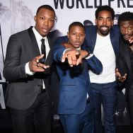 "(L-R) Actors Corey Hawkins, Jason Mitchell, Marlon Yates, Jr., Aldis Hodge, and O'Shea Jackson, Jr. attend the Universal Pictures and Legendary Pictures' premiere of ""Straight Outta Compton"" at Microsoft Theater on August 10, 2015 in Los Angeles, California"