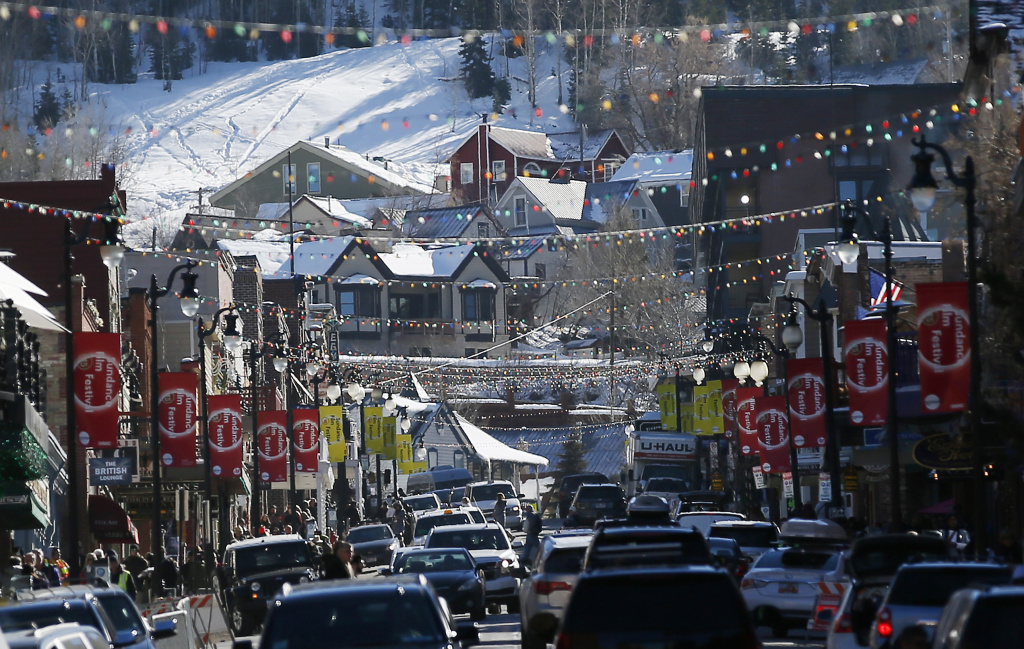 Main Street in Park City, Utah during the Sundance Film Festival.