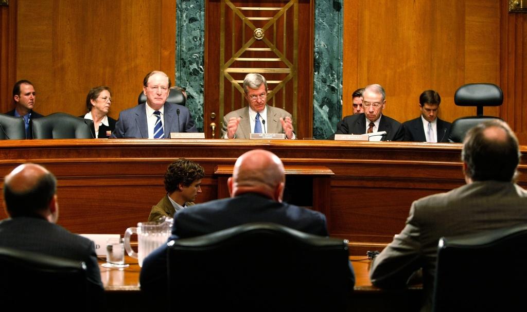 (L-R) Sen. John D. Rockefeller (D-WV), Sen. Max Baucus (D-MT) and Sen. Chuck Grassley (R-IA) listen to testimony during a Senate Finance Committee hearing on Capitol Hill September 6, 2007.