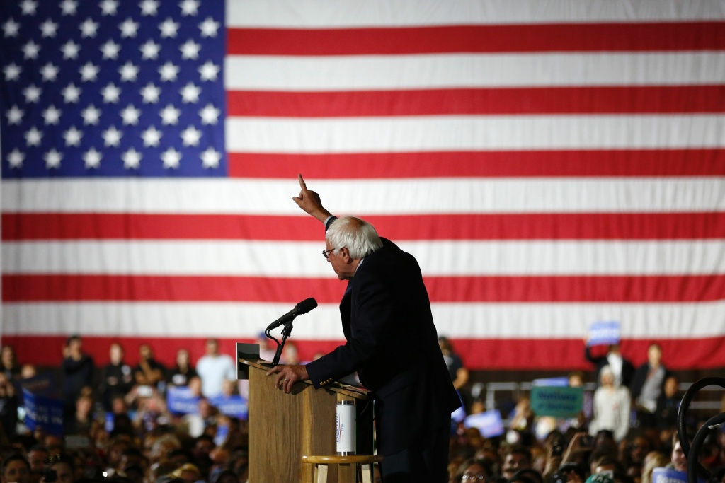 Bernie Sanders speaks during a rally at Barker Hangar in Santa Monica, California on June 7, 2016.