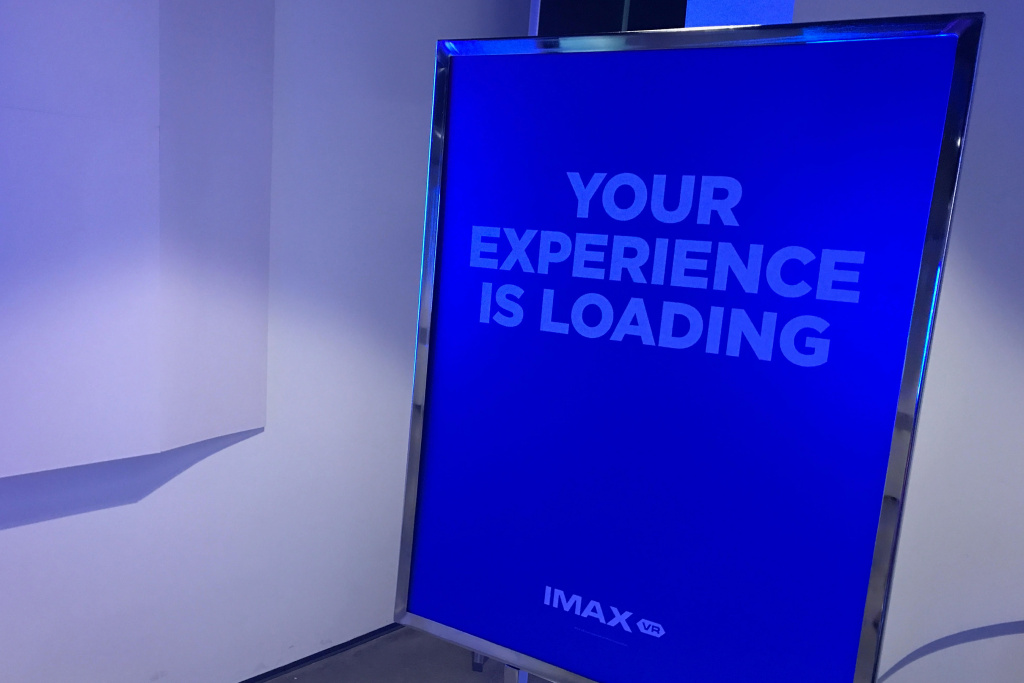 A sign at the IMAX VR Centre in Los Angeles.