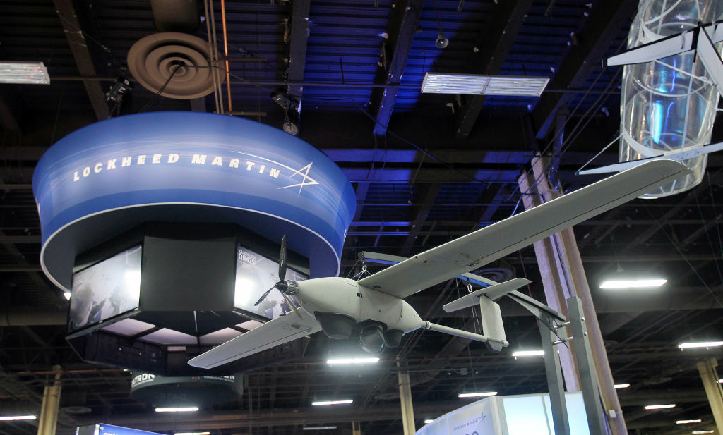 A Stalker UAS is on display at the Lockheed Martin booth during the Unmanned Systems North America trade show at the Mandalay Bay Convention Center on August 9, 2012 in Las Vegas, Nevada. This Stalker can be powered by a laser enabling it to stay aloft for longer periods that those with a fuel cell.