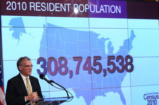 Robert Groves, Director of the U.S. Census Bureau, discusses the first results of the 2010 Census during a press conference December 21, 2010 in Washington, DC.