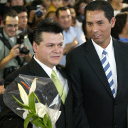 Antonio Medina (L) and Jorge Cerpa are pictured during the first ceremony in Mexico in which a gay couple signs a civil contract that offers same-sex couples the same rights as marriage, on March 16th, 2007 in Mexico City.