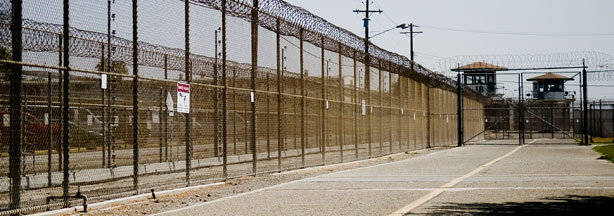 The California Institution for Men prison fence is seen on August 19, 2009 in Chino, California