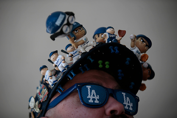 Ray Velazquez, 44, of Lucerne Valley shows his love and obsession with the Dodgers as he arrives for opening day against the San Diego Padres at Dodger Stadium April 6, 2015 in Los Angeles, California.