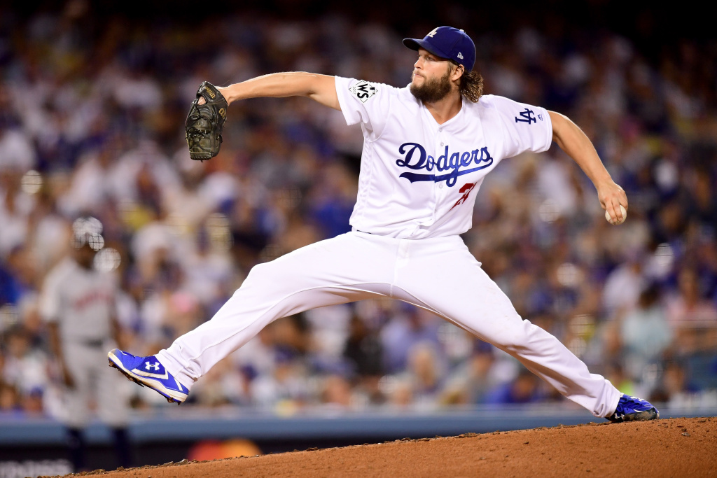 Clayton Kershaw of the Los Angeles Dodgers pitches during the seventh inning against the Houston Astros in game one of the 2017 World Series at Dodger Stadium on Oct. 24, 2017.
