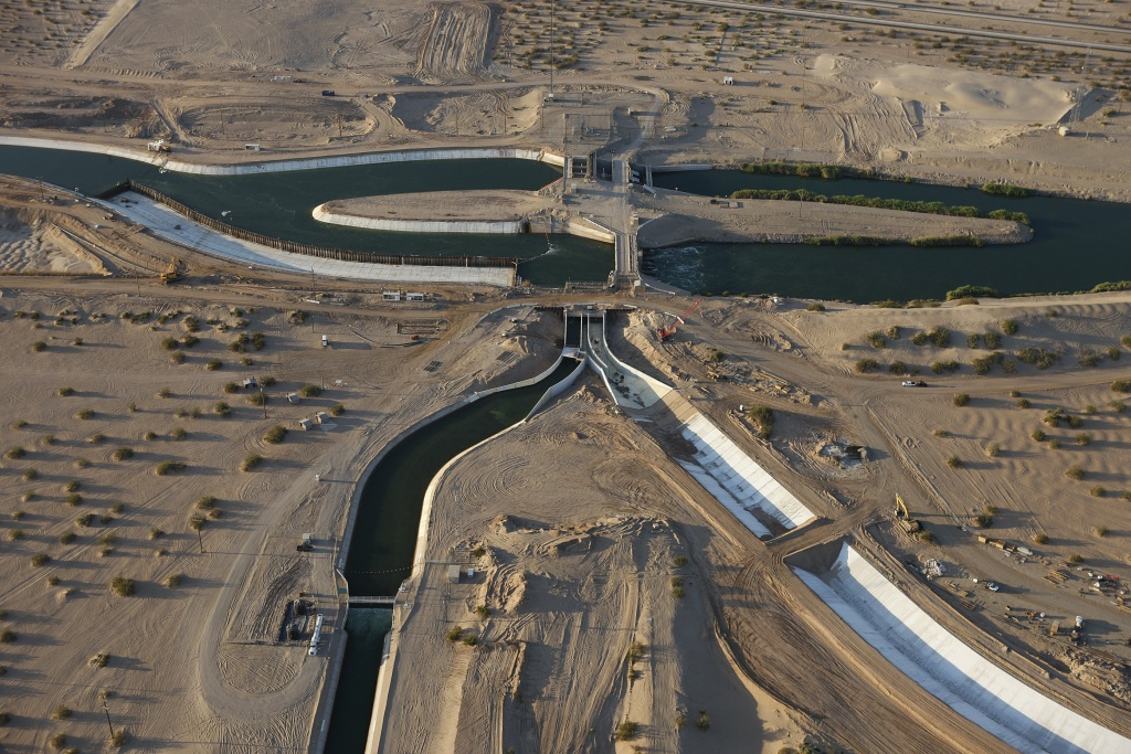 The All American Canal, the main water conduit from the Colorado River into the Imperial Dam, Imperial Valley, August 6, 2009.
