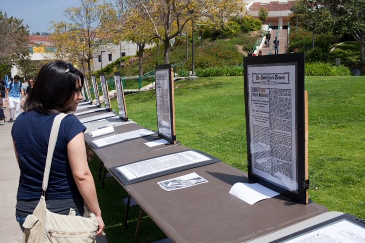 On the 97th anniversary of the Armenian Genocide, a student at Glendale Community College reads New York Times articles about the killings.